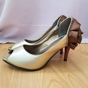 Gold and Bronze Ribbon Peep Toe Heels (never worn)